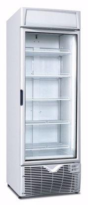 Een koelkast met glazen deur voor in de werkruimte